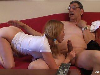 Grand Daughter Is Masturbating and sucking superannuated dick