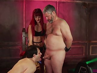 Spoiled Andi Rye makes two plump ugly dudes work on cocks