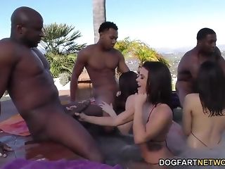 Three milky femmes with gigantic bosoms against trio gigantic black cock in bi-racial rectal lovemaking porn tube