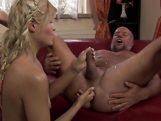 A hot blonde is playing alongside the dude's ass increased by she is peeing