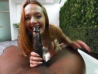 Curvy brunette Lex handles a big knavish blarney like a champ