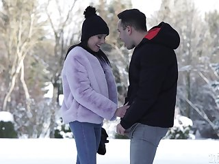 Lexi Layo blows blarney on the snow and gets ass fucked hardcore