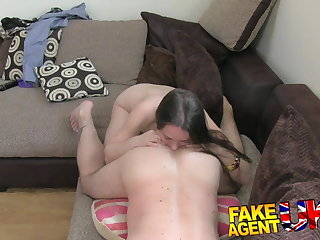 FakeAgentUK filthy euro woman gets anal creampie at bottom casting