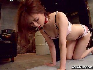 Svelte chestnut haired Asian nympho Karin Yazawa is masturbated with underflow