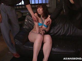 Big breasted Japanese lady Kaoru Hirayama enjoys bondage and masturbation