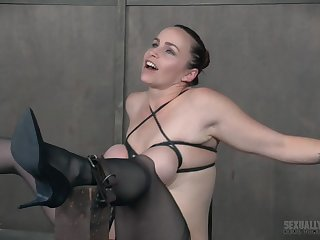 High heels on a brunette babe Bella Rossi as she gets abused by a cock