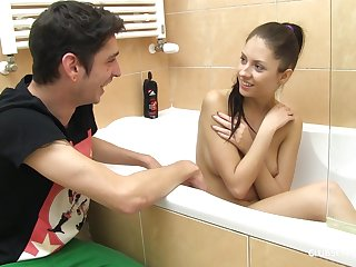 Monitor she takes a shower hot tolerant Rebecca Volpetti gets fucked off out of one's mind her friend