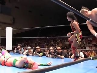 Japanese girl wrestler gets drilled rock-hard on the stage freesex