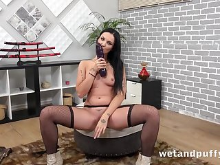 Thick dildo stretches outside her ambrosial Euro pussy