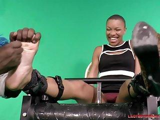 Ebony Short Haired Babe Near Big Ticklish Feet