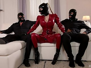 dirty latex threesome with rub-down the median woman and her male slaved
