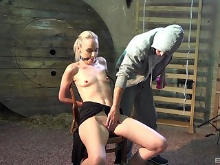 Skinny blonde toy fucked in brutal male domination XXX