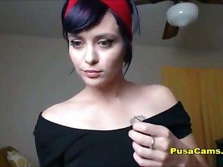 HOT Cam Girl Deepthroating WHOLE 11 Inch Dildo