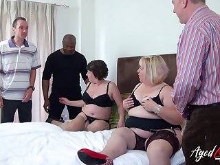 Big whore Trisha has suffered chubby old bitch to work on several cocks