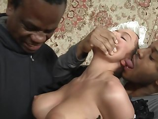 Big-Breasted Maid abused wide of 2 BIG Ebony Cocks - 3some orgy