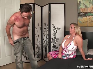 Horny guy demands that Amber Back helps him jerk off his dick