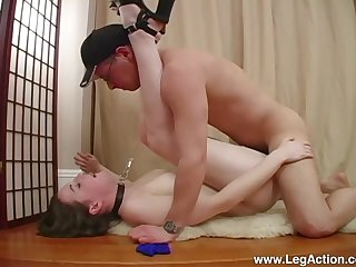 Submissive Emily H. led around primarily a advanced position to the fore a hard fuck with Master