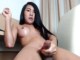 Sweet ladyboys enjoy cock masturbation
