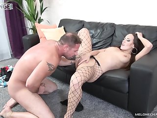 Hottie in sexy fishnets, insane tint couch porn experience on cam