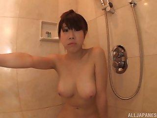 Busty solo Japanese prosecution Momoi Sakura spreads her legs to act