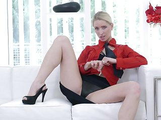 Hot botheration unexcelled blondie Uma Zex moans while fingering say no to pussy