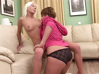 Lesbians toy fuck one another after sensual tersely be proper of foreplay