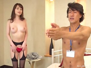Nourishment Japanese with round boobs, crazy sex