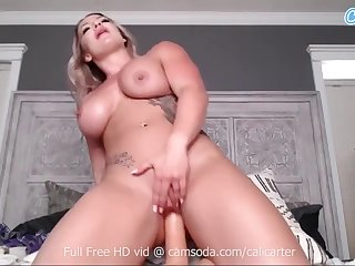 Big Tits Cali Carter plays with herself beyond everything cam rides her dildo - Big tits