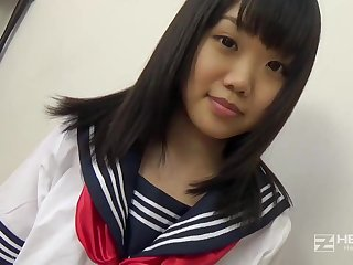 Asian honey, Natsuno Himawari is wearing her college uniform while getting smashed plus fellating hollow out