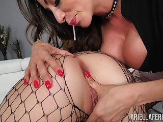 Lesbians in fishnets Ariella Ferrera and Shelby Paris please each other