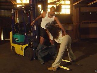 Busty throb haired ebony teen babe Dee Baker gets a heavy black cock