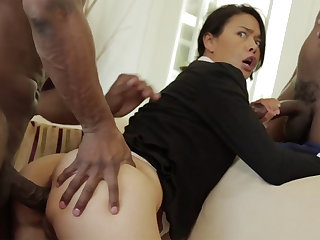 Thai MILF give a tight flock destroyed in an interracial MMF