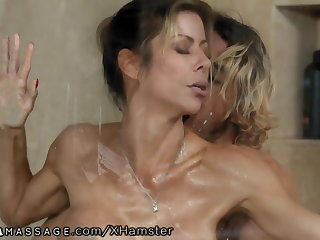 Son Stopped up Step-Mommy Alexis Fawx Working at Nuru Massage!