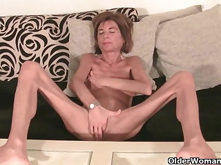 Very bony granny strips off and masturbates (compilation)