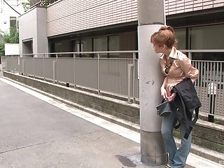 Japanese amateur MILF picked encircling and pussy creamed by a stranger