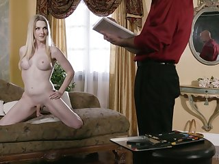 Sexy trannie with juicy boobies Kayleigh Coxx is face fucked before anal sex